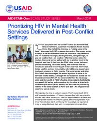 Prioritizing HIV in Mental Health Services in Post-Conflict Settings