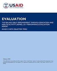ASPIRE Performance Evaluation, Annex 8: Evaluation Tools
