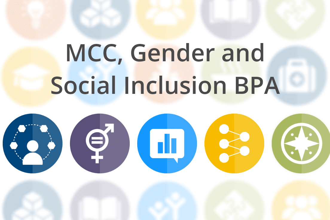 New Project: MCC Blanket Purchase Agreement for Gender and Social Inclusion