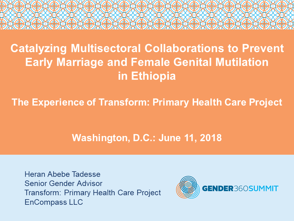 Catalyzing Multisectoral Collaborations to Prevent Early Marriage and Female Genital Mutilation in Ethiopia