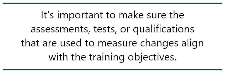 pull quote: It's important to make sure the assessments, tests, or qualifications  that are used to measure changes align with the training objectives.