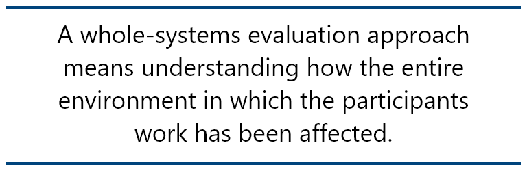 pull quote: A whole-systems evaluation approach means understanding how the entire environment in which the participants work has been affected.