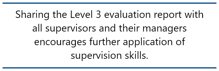 pull quote: Sharing the Level 3 evaluation report with all supervisors and their managers encourages further application of supervision skills.
